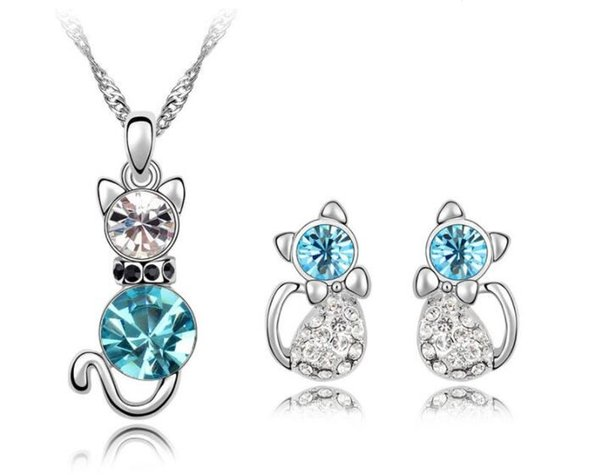 New style kitten style Necklace Pendant Earring suit Inlaid Austria Crystal Earring Use Swarovski elements Twinkle 3 pieces jewelry sets