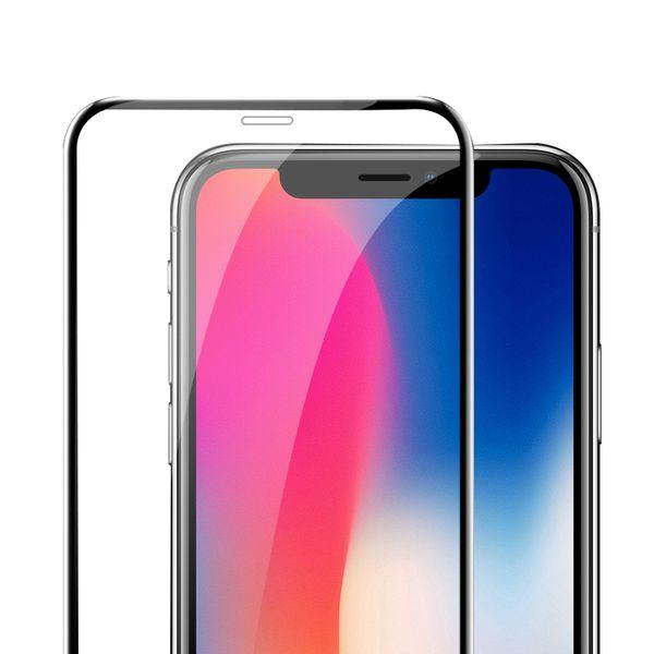 для iPhone XS MAX XR 6D Полное покрытие изогнутого края протектор стекла Закаленное полный клей 9H Экран 5.8 / 6.5 дюймов