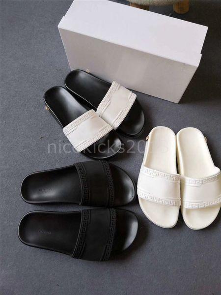 Ucuz Lüks Tasarımcı Bayan Terlik Yaz Sandalet Plaj Slayt Ayakkabı Bayanlar Sandali D Ördek Ayakkabı Baskı Deri Tüm Siyah Pantoufles