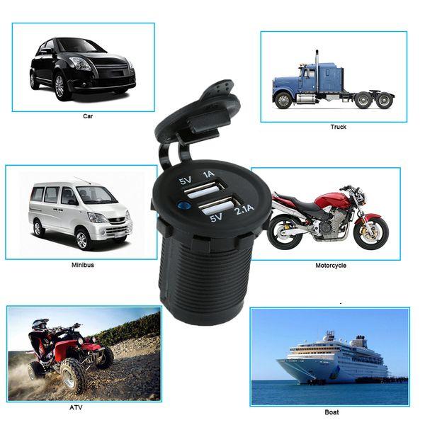Auto Motorrad Dual USB Buchse Ladegerät Netzteil Steckdose Handy Ladegerät DC 5V 2.1A / 1A für LKW Boot