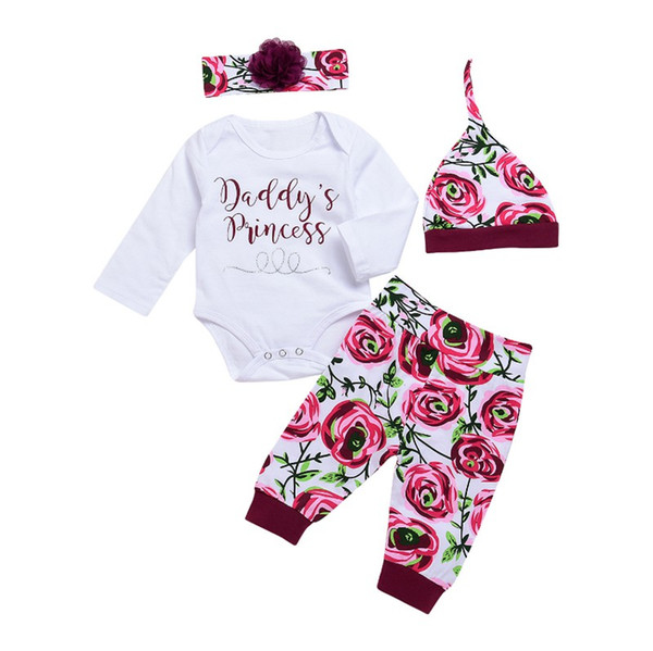 Infant baby girl jumpsuit spring autumn cotton long sleeve letter printed tops+headband +floral hat+trousers kids cotton clothes 4pcs