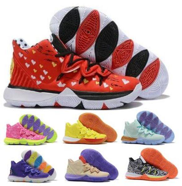 Kyries Sponge Bob 5 5s Zapatillas de baloncesto para hombre Bandulu Patricks Rainbow Taco Chaussure Red 2019 Nuevas zapatillas de deporte de diseñador baratas Zapatillas de deporte