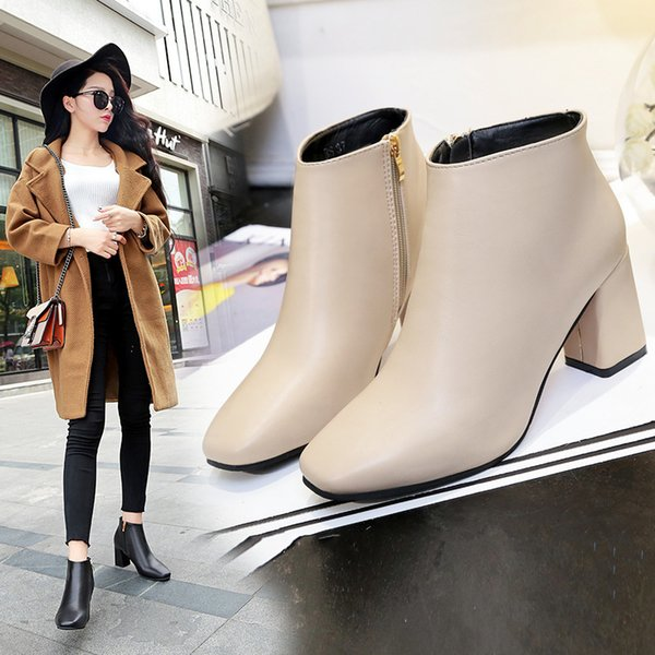 2018 New Spring Autumn Stiletto Thin High Heels Pointed Toe Faux Leather Zipper Style Sexy Ankle Womens Boots fb78
