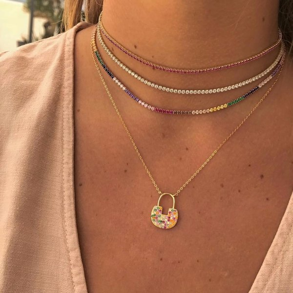 2019 New Arrived Gold Color Necklace With Rainbow Cz Tennis Chain Colorful Cz Charm Choker With Tiny Link Chain Necklace Jewelry Q190413