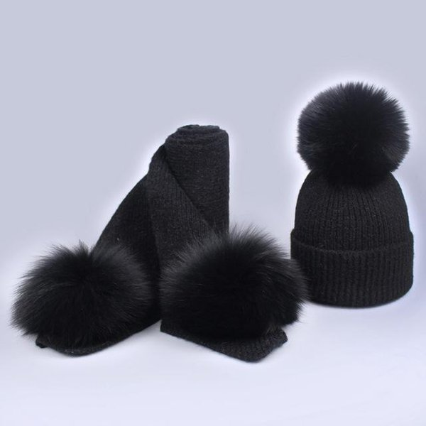 New brand children cashmere fleece 16cm real fur ball cap pom poms baby kids winter hat Scarf Set knitted beanies hats Thick scarves suit