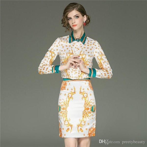 Long Maxi Dress for Woman Lady OL Two Piece Dresses Formal Print Shirts Long Sleeve Vintage High Waist Casual Skirts