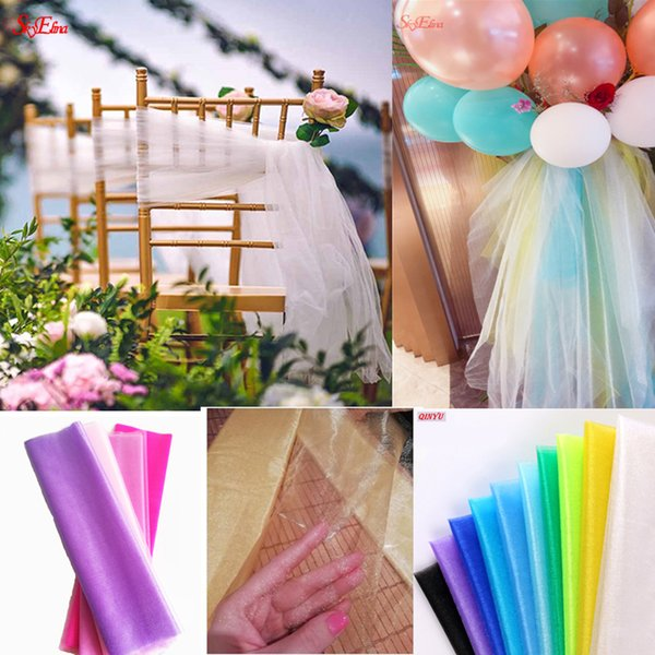10meter/lot sheer crystal organza tulle roll fabric for wedding party decoration organza chair Wedding Arch decoration6Z SH015-1