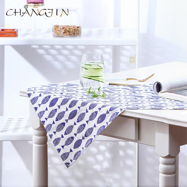 best selling blue fish print napkin cloth small fresh style cloth art tablecloth napkin cushion