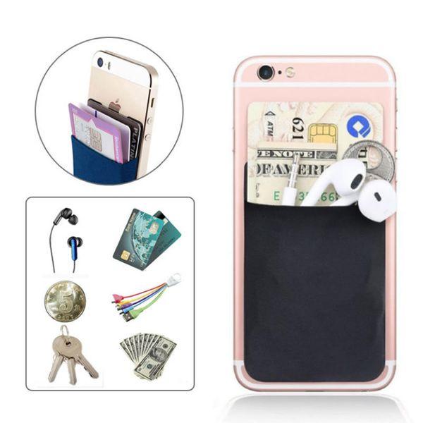 Creative Elastic Lycra Cell Card Holder Phone Wallet Case Women Men Business Credit Id Card Holder Pocket Stick 3m Adhesive