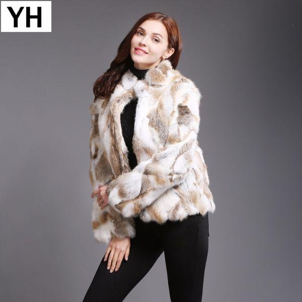 2019 New Hot Sale Winter Women Natural Rabbit Fur Coat Warm Soft Slim Rabbit Fur Jacket Fashion Ladies Real Rabbit Fur Outerwear Y190916