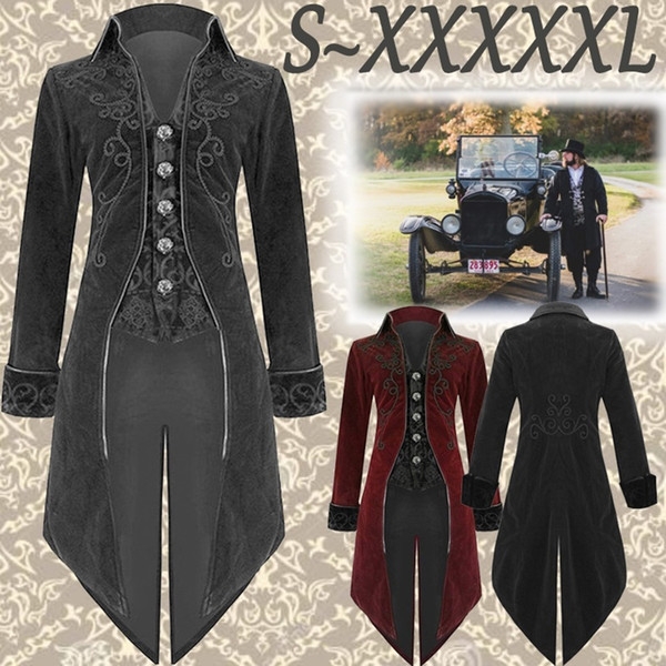 Plus Size S-5XL Autumn and Winter Men's Fashion Clothing Fashion Gothic Steampunk Windbreaker Dress Coat