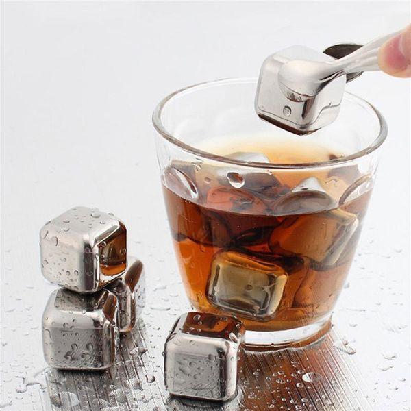 Cubetti di ghiaccio riutilizzabili in acciaio inossidabile in metallo Pietre di raffreddamento per Whisky Wine Bar Forniture KTV Raffreddatore di birra alla birra Wiskey magico Alla rinfusa