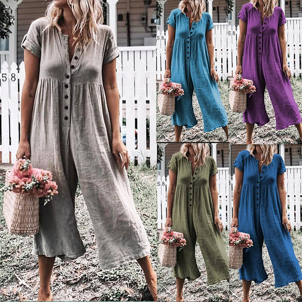 European and American fashion trends well-known design new offline hot solid color loose casual jumpsuit long sleeve summer beach walk vacat