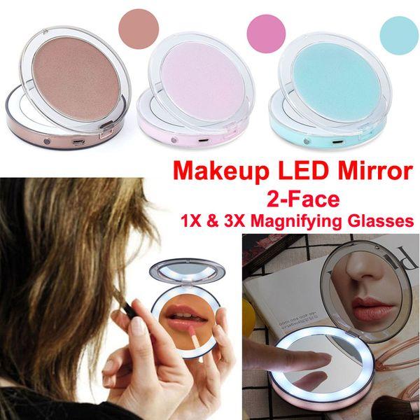Alta calidad Espejo de maquillaje LED Inducción táctil LED Espejo 2 Cara 1X y 3X Lupa Espejos cosméticos Carga USB Borde Luz brillante