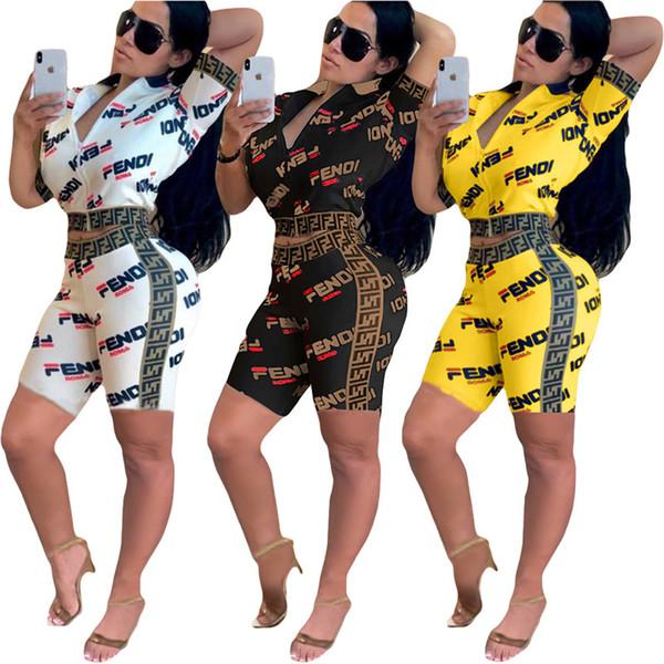 Double F carta Mulheres Treino de Verão de Manga Curta Outfit Zipper camiseta Jaqueta + Shorts 2 Peça Set Sportswear Clube Terno S-2XL C42507