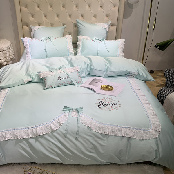 Concise Lace Bedding Set 4-6pcs Princess 100%Cotton Quilt Cover Lovely Girl Gift Pink Green Colorful Bedding Article Fashionable