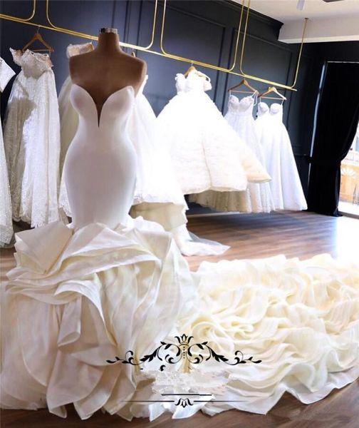 Luxo Cascading Ruffles Sereia Vestidos De Noiva 2020 Capela Trem Plus Size Corset Pescoço Bellanaija nigeriano Árabe País Vestidos de Noiva