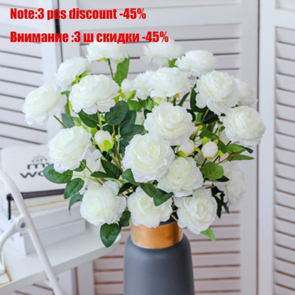 Fleurs artificielles 3 Têtes décoratives Pivoine Bouquet Real Touch Fleurs en soie artificielle Pivoine Parti Weding Décoration Décoration intérieure