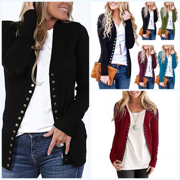 Großhandel 2019 Neue 1 Stück Weibliche Vorne Offen Strickjacke Pullover Langarm Strickwaren Strickjacke Einfarbig Taste Casual Pullover Für Frauen