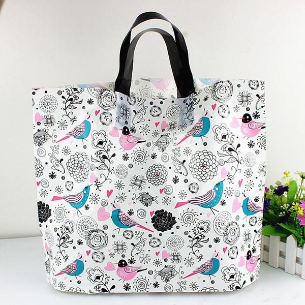 50 unids / lote a todo color Bird plástico bolsa de embalaje para la ropa bolsas de regalos con flores de tamaño completo de impresión disponibles para la aduana