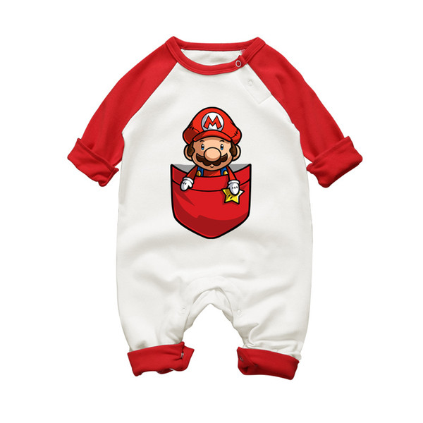 Boy Super Mario Cartoon Print Rompers Winter Thick Infant Character Costume Girls Warm Clothes Baby Bebe Jumpsuit Outerwear Q190520
