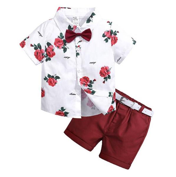 2019 verão novas crianças calções casuais terno roupas infantis terno verão baby boy roupas flor gravata camisa + shorts 2 PCS cavalheiro sui