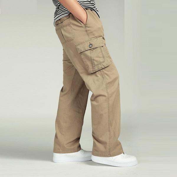 2018 NEW MEN'S PANT LARGE SIZE Big 4xl 5xl 6xl Plus Casual Men Elastic Waist Multi Pocket Male Long Baggy Straight Trousers