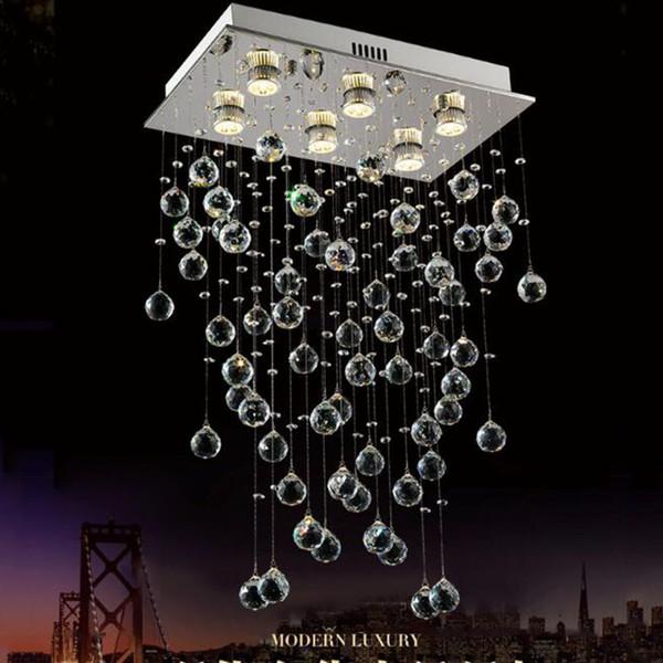 Dormitorio moderno LED luz de techo rectangular moderna sala de estar lámpara de cristal comedor creativo bar colgante de luz
