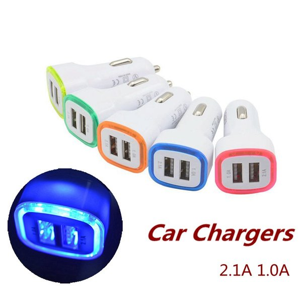 Dual USB Ports LED Light Car Chargers Adapters Speed Charging Adapter Universal for Samsung iPhone Cellphone 5V 1000mAh 2.1A 1.0A