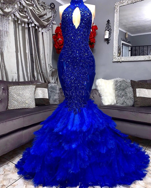 Royal Blue Feathers Mermaid Prom Dress 2019 Elegant Cut-out High Neck Applique Beaded Plus Size African Graduation Evening Gowns party dress
