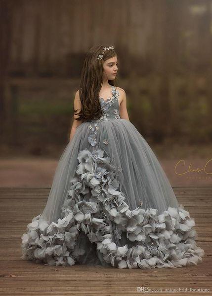 Gray Flower Girls Dresses 2019 3D Floral Pageant Dress for Little Girls Handmade Flowers Kids Birthday Party Gowns Custom Made