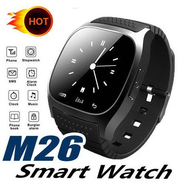 M26 smartwatch Wirelss Bluetooth Relógio Inteligente Pulseira de Telefone Pulseira Da Câmera de Controle Remoto Anti-lost Barômetro alarme V8 A1 U8 relógio para IOS Android