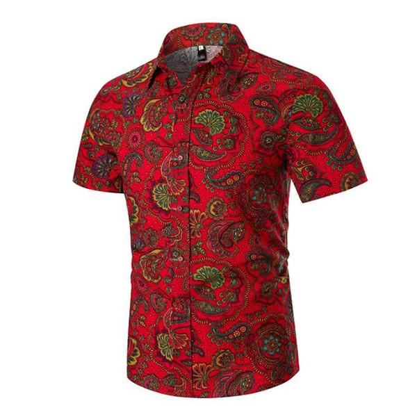 Mens Summer Beach Hawaiian Shirt 2019 Vintage Paisley Imprimer À Manches Courtes Robe Chemise Hommes D'affaires Casual Chemises Chemise Homme