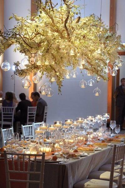 8 cm trasparente appeso portacandele in vetro palla di vetro tea light holder portacandele matrimonio appeso fioriera in vetro terrari per la decorazione domestica wang
