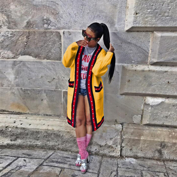 Uzun Kollu Şerit Baskı Hırka Bayan Kazak Cepler İlkbahar Yaz Kontrast Renk Gevşek Bayan Giyim