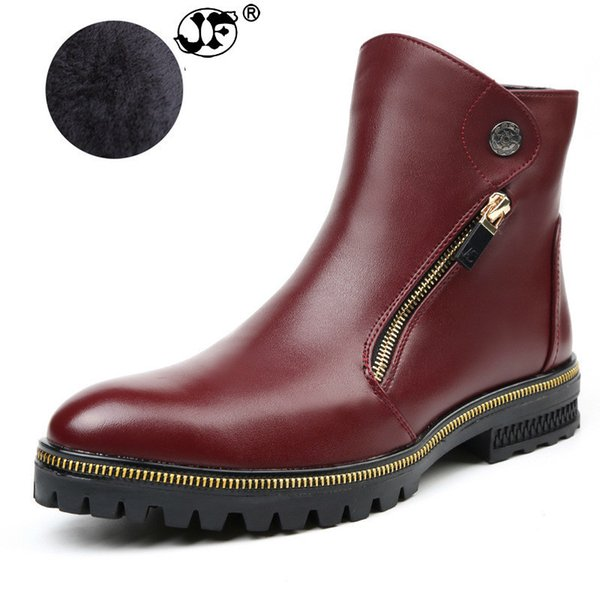 Men Ankle Boots Spring and Winter Plush Version Men leather Boots Metal Zipper Simple Fashion Men Autumn Boots gjm89