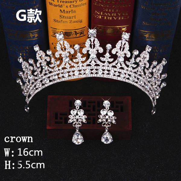 Fashion Jewelry Bridal Accessories Tiara Headdress Headband Hair Clips Women Crystal Pearls Decor Hair Band+earrings Jewelry Wedding