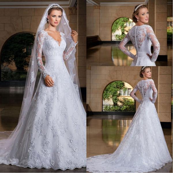 Send Petticoat 2019 Beautiful Long Sleeve V Neck Buttons Beading Lace Appliques Wedding Dresses Professional Custom