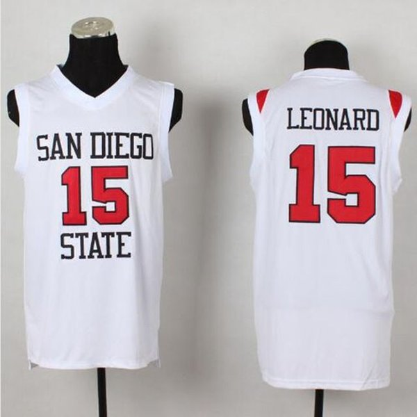 # 15 Kawhi Leonard San Diego Estado Retro Top Colégio Basquete Jerseys Mens 100% Duplamente Costurado Top Quality XS-6XL colete Jerseys