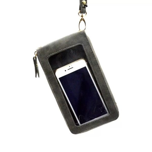 RFID Touched Cell Phone Bag 4colors Personalized Fashion translucent Nubuck leather Zipper Touched PVC Phone Purse