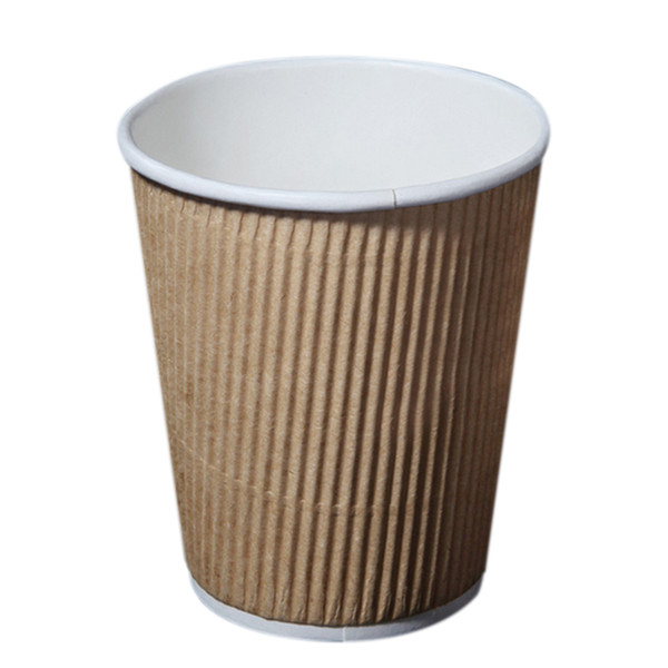250pcs 8oz Disposable Cups Kraft Paper Coffee Cup Party Home Paper Drinking Ripple and Insulated Cups free shipping