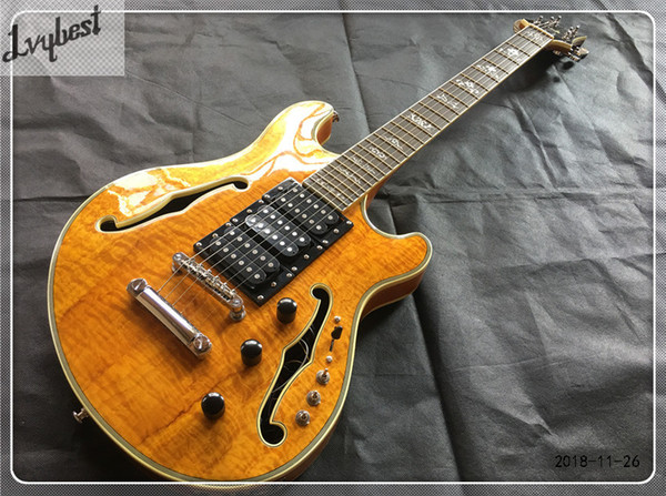 top popular electric guitar hollow body,deep brown see thru wood grain.gold parts.free shippingLvybest Customized hollow body guitar,tigerflame body top 2020