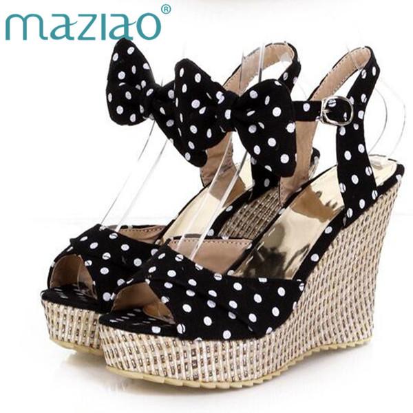 vente en gros d'été plate-forme chaussures dames poisson à pois polka dot arc plateforme compensées talons femmes chaussures deux pièces dames chaussures rouge
