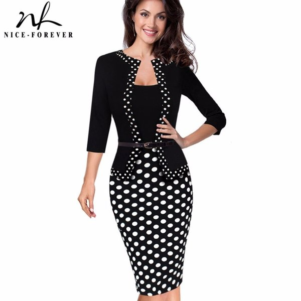 Nice-forever One-piece Faux Jacket Retro Contrast Polka Wear To Work Business Vestidos Office Bodycon Women Sheath Dress B407 Y190425