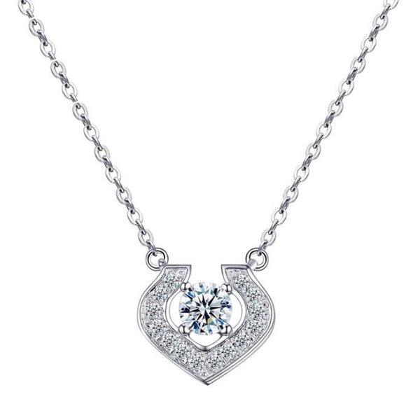"""Élégant Collier cœur avec un véritable diamant en argent sterling 925 18/"""""""
