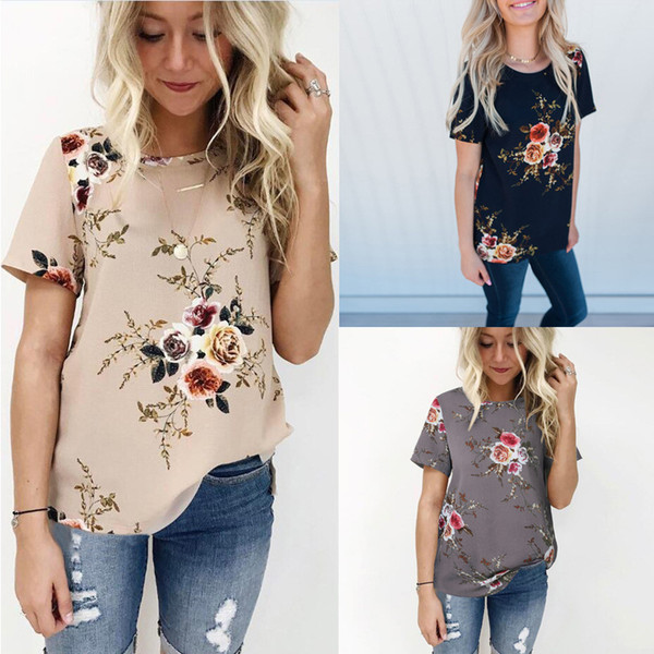 Boho Feminina O Cuello Caqui Moda 2019 Camisa de verano Para Mujer Tops y Blusas Mujer Gasa Túnica Floral Para Mujer Más Tamaño 3xl