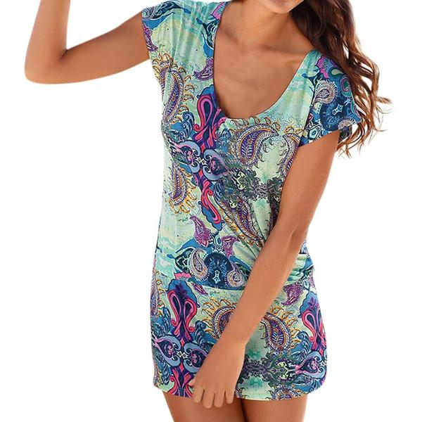 nuovo prodotto 890ed 3e18f 2019 Fashion Womens Casual Short Sleeve Retro Print Beach Mini Dress Beach  Dress Bathing Outings Costume Donna Mare Elegant From Mikico, $33.03 | ...