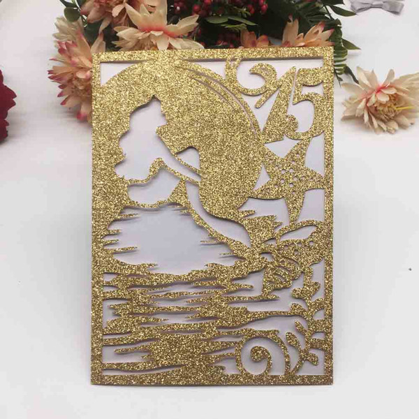 Compre Tarjetas De Invitación De Boda Personalizadas Diseño De Fiesta De Cumpleaños Con Camada Sirena Exquisito Ahuecado Vestido De Lujo Grandes