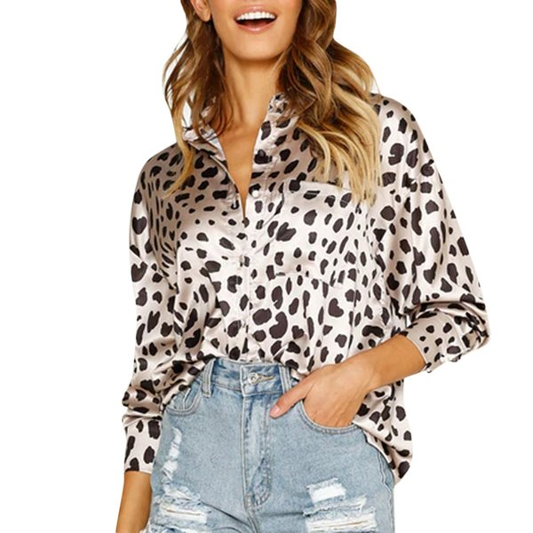 Fashion Womens Leopard Print Front Pocket Blouse Button Up Long Sleeve Shirt Party Ladies Tops Kimono Mujer soft comfort top