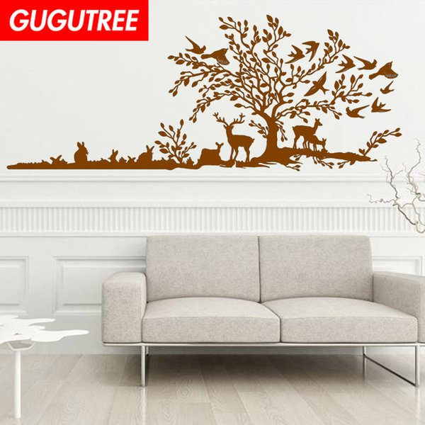 Decorate Home trees deer cartoon art wall sticker decoration Decals mural painting Removable Decor Wallpaper G-1904
